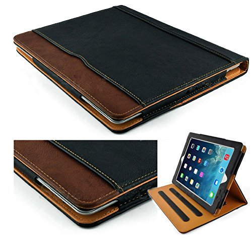 S-Tech iPad Mini 4 / Mini 5 Case Black and Tan Soft Leather Wallet Smart Cover with Sleep/Wake Feature Flip Case for Apple iPad Mini 4 (2015 2019 Model Release)
