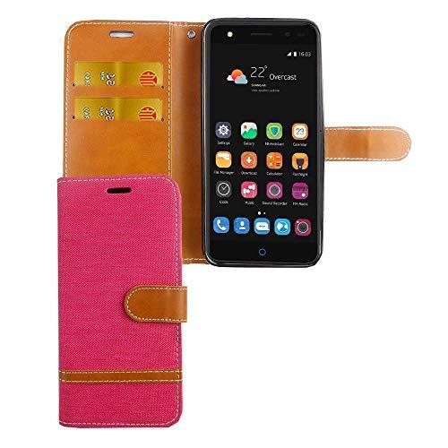 König Design Handy-Hülle Kompatibel mit ZTE Blade V7 Lite Schutz-Tasche Hülle Cover Kartenfach Etui Wallet Pink