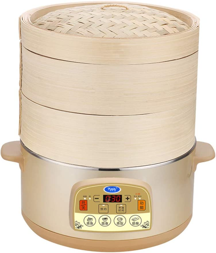 Electric Bamboo Steamer with Steam Cloth, Chop sticks, 60 Minute Timer 5L Large Tray Capacity, Electric Rice cooker, 3 Levels Removable Bamboo Steamer for Meat, Dumplings, Fish and Vegetables.