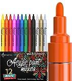 ARTISTRO rotuladores de pintura acrílica bolígrafos acrílicos - 12 colores - 2-3mm rotuladores acrílicos punta gorda para piedras, metal, madera, vidrio, taza de bricolaje - Acrylic Paint Pens
