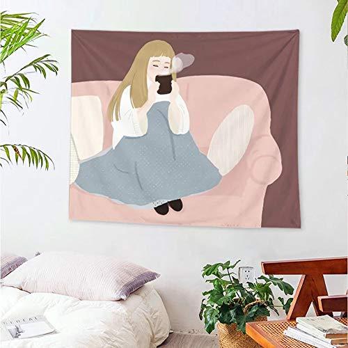 KHKJ Tapiz de niña Colgante de Pared Dulce Rosa niñas Mandala Hippie Tapiz de Fondo Manta Tela de Picnic decoración A2 200x150cm