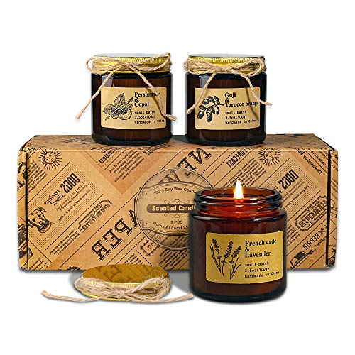 Scented Candles, Gift Set of 3 Rustic Apothecary Amber Jar Soy Candles - Natural Organic Soy Wax Candles for Aromatherapy, Stress Relief, Relaxation, Home Decor, Women & Men (3.5oz each)