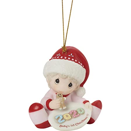 Precious Moments 201005 Baby's 1st Christmas 2020 Dated Girl Bisque Porcelain Ornament, Multicolored