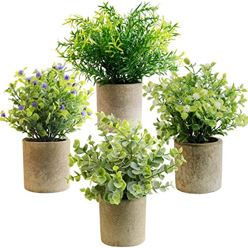 HappyHapi Artificial Mini Potted Plants Eucalyptus Plants Plastic Fake Green Rosemary Plant for Indoor Greenery Tabletop Décor Centerpiece 4 Pack
