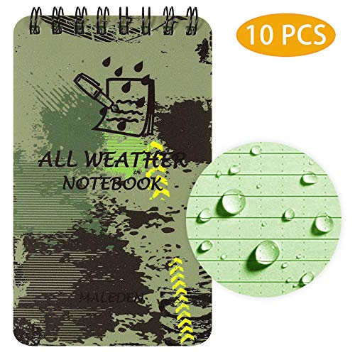 """Waterproof Notebook, All Weather Notebook Pocket Notepad with Grid Paper and Durable Cover for Outdoor Work Tactical Notepad Steno Pad Memo Book 10 PCS 3"""" x 5"""""""