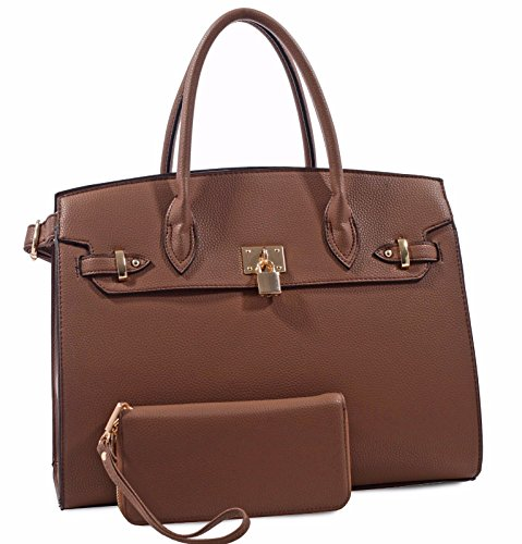 Deluxity Structured Large Satchel w/Padlock Accent + Strap (Coffee)
