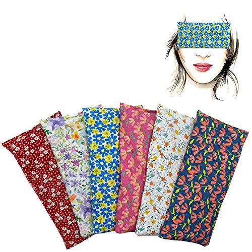 Almohada para los ojos'Pack de 6 unidades -All Flowers' | Semillas de Lavanda y arroz | Yoga, Meditación, Relajación, descanso de ojos.