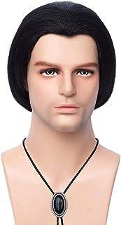 FVCENT Pulp Fiction Vincent Vega zwarte korte rechte pruik pruiken met 1 stropdas bolo, mannen zwarte rechte korte pruik H...