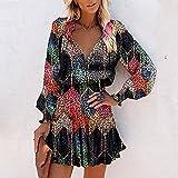 WDLZB Vestir Mujer - Elegante Manga Larga Multicolor Leopardo Estampado De Rombos Bohemio Vestido Floral Camisa Suelta Vestido Fiesta Club Desgaste Cintura Alta Moda Casual Falda, Color, L