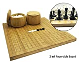 Mose Cafolo 2in1 Go Game Set & Chess Game Set with Reversible Bamboo Go Board | Measures 17.5 x 18.5 ' Includes Bamboo Bowls,Yun Zi (云子)Bakelite Stones,Chessman- Classic Asian Strategy Board Game