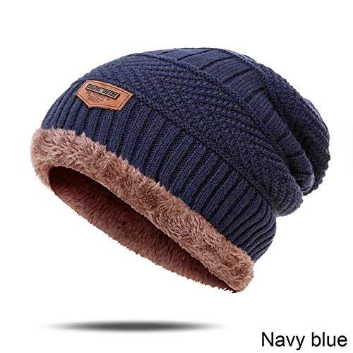 Sombrero de Invierno Hombre, Gorro de algodón Grueso para Invierno, Gorros cálidos para Hombre, Gorro de Punto Unisex a la Moda-Navy Blue