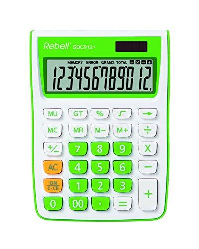 Rebell RE-SDC912GR bureaurekenmachine SDC912, 12-cijferige rekenmachine voor kantoor en thuis, dual-werking, groen