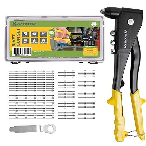 BLOSTM Remachadora Manual Kit Con 200 Remaches En 4 Tamaños 2.4mm 3.2mm 4mm 4.8mm Para Metal, Madera Y Plástico