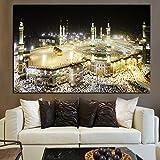 tzxdbh Pintura Decorativa Arte de la Pared Lienzo Pintura al óleo La Meca islámica Paisaje Sagrado Mural Cartel para Pasillo del Hotel Sala de Estar decoración del hogar 60x90cmx1cps sin Marco