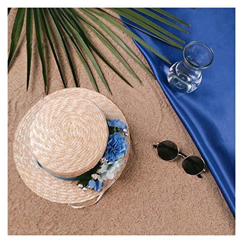 LHZUS Sombreros de paja para mujer, sombrero de playa de verano plano con flor azul, sombrero de paja ancho sombreros de pesca al aire libre (color: natural, tamaño: 56-58 cm)