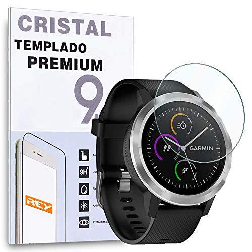 REY Protector de Pantalla para Garmin VIVOACTIVE 3, Cristal Vidrio Templado Premium
