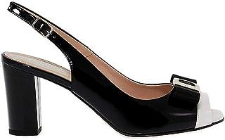 Luxury Fashion | Donna Serena Women DONNA7735 Black Leather Sandals | Season Outlet