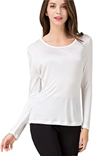 METWAY Women's Silk Shirt Crew Neck Long Sleeves Pure Silk Blouse