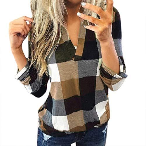 IHGWE Camisa informal de algodón para mujer de corte ajustado, con botones en la parte superior, tallas grandes, sudadera, abrigo. café L