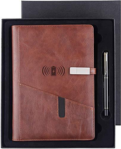 GIOAMH Bloc de Notas de Viaje,Cuaderno de Tapa Dura,Bloc de Notas Y Potencia Móvil 2 en 1,Embalaje de Caja de Regalo Cuaderno de Cuero /  Marrón