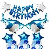 Kit de globos de tiburón grande de 50 piezas, decoraciones de fiesta de cumpleaños de Shark Splash, suministros de fiesta de cumpleaños bajo el mar Océano temático para niños niños Baby Shower