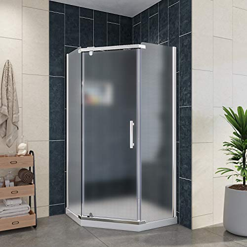 ELEGANT Hinged Pivot Shower Door, Neo-Angle Frameless Corner Shower Enclosure with 1/4 in. Frosted Glass, 36 3/5 in. W x 36 3/5 in. D x 71 4/5 in. H, with 38 x 38 x 3 in. Shower Base, Chrome