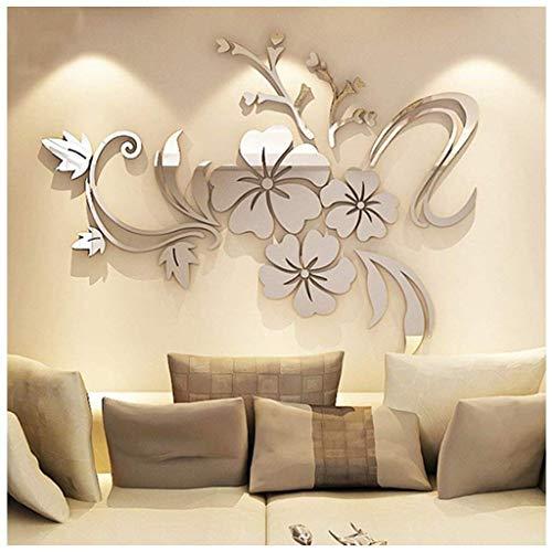 DX 3D Woonkamer Muurstickers Spiegel Bloem Muursticker Verwijderbare Wanddecoratie TV Bank Achtergrond muur Stereo Muursticker