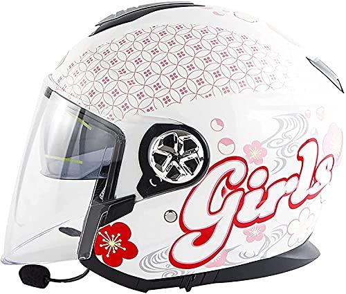 Medio Abierto Casco de Moto con Bluetooth Integrado,ECE Homologado Casco Moto Jet Scooter para Mujer Hombre Adultos,con un Micrófono Incorporado Doble Visera (Color : E, Tamaño : XL)