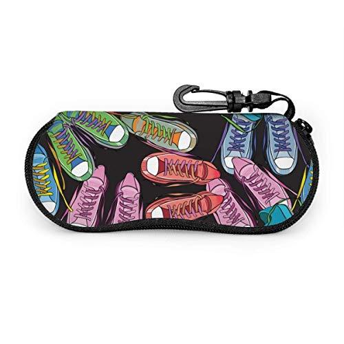 Varios colores de zapatillas de deporte Estuche para gafas Estuche para gafas de sol Estuche para gafas con cremallera de neopreno ultraligero con mosquetón personalizado