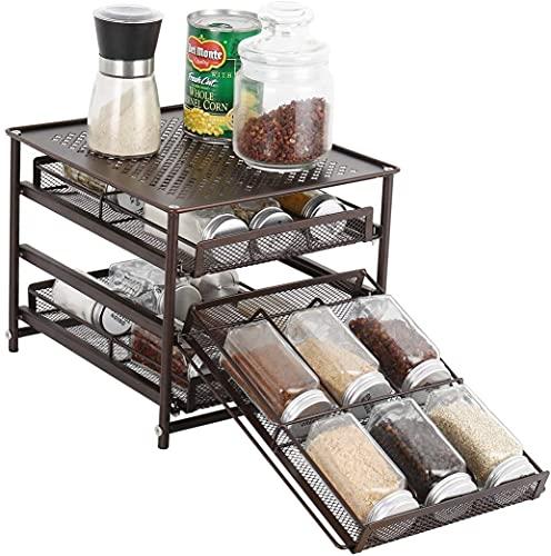 Organizador de almacenamiento de cajones de especias de 3 niveles para estante de especias para encimera de gabinete de cocina