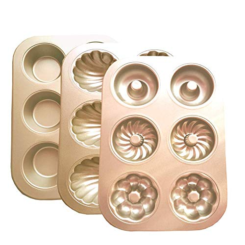 POKALI 3Pcs Non-Stick Carbon Steel Baking Cake pans Set, Cake Bread Dessert Bakeware, Sponge Cake Chocolate molds for baking-6Cavity Heart Scallop Madeline/ Donut /Muffin Cupcake Baking pan(Gold)