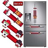 Refrigerator Door Handle Covers Set of 4, Santa Snowman Kitchen Appliance Covers Fridge Microwave Oven Dishwasher Door Handle Protector Christmas Decorations 4 Pcs