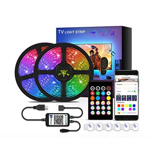 Kit de luces de tiras LED 2m, Cambio de color RGB, iluminación de tiras de LED al aire libre con enchufe de alimentación remota y 12V, regulable, cinta 5050 LED para A