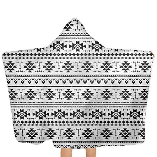 ZHSL Kapuzenhandtuch für Kinder Azteken, Grunge South Pattern auf Weiß 100% Baumwolle Badetuch Coverup Poncho für Bad/Pool/Strand Badeabdeckung 51,5x31,8 Zoll