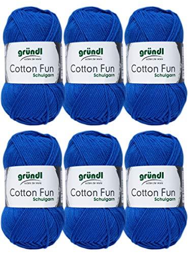 Gründl Cotton Fun Wolle Set 6x 50 Gramm Royalblau 10 aus 100% Baumwolle