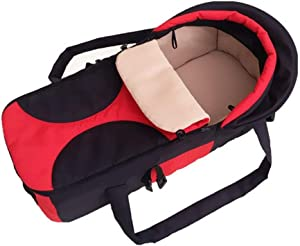 Babys Portable Bed Baby Bassinet Traveling Infant Transporter Basket Portable Bed Crib With Adjustable Canopy And Handle For 0-7 Months Babies Cots  Color Red  Size 20cm