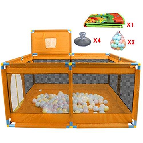 Parc bebe Portable Bébé Pliable Parc pour Enfants avec Cerceau De Basket-Ball Et Balles (Couleur : Orange)