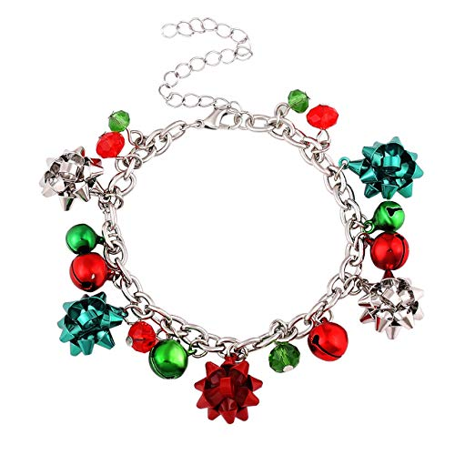 ALEXY Christmas Bracelets for Women X-Mas Gift Bow Charm Bracelets Jingle Bell Link Bracelets for Girls Kids (Silver)