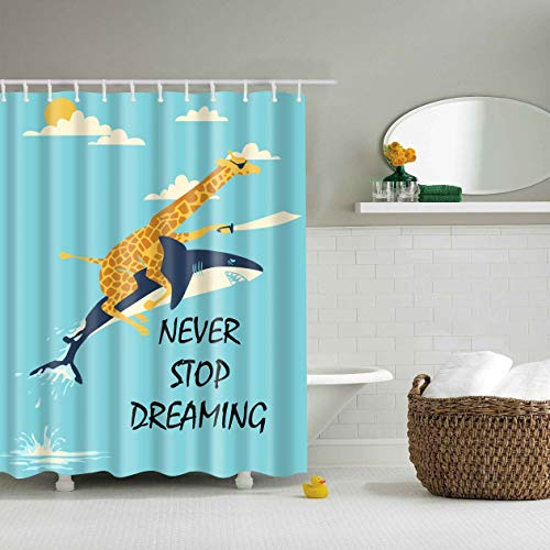 """Shower Curtain Liner for Bathroom Giraffe Riding a Shark with a Kniffe in Hand Never Stop Dreaming Fabric Waterproof Bathroom Decoration Decor Design 72"""" x 72"""" with 12 Packs Curtain Hooks"""
