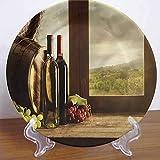 LCGGDB - Placa decorativa de cerámica con patrón de bodega, 15,24 cm, accesorio de decoración para pasta, ensalada, fiesta, cocina, decoración del hogar