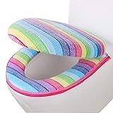 BESTEU Universal Winter Rainbow Toilet Seat Two-Piece Set Toilet Seat Toilet Seat Cover Zipper Closure Design