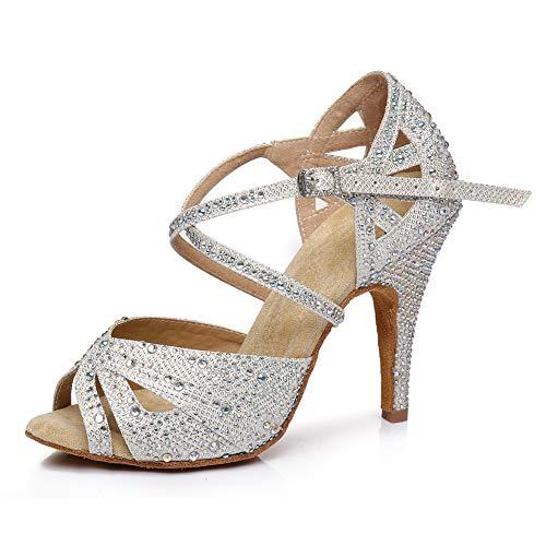 JUODVMP Zapatos de Baile Latino para Mujer con Diamantes de imitación Zapatos...