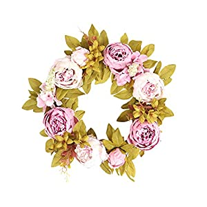 Wookey Handcrafted Peony Flower Wreath Handmade Large Green Leaf Silk Pink Flower Ornaments Spring Summer Front Door Garland Indoor Outdoor for Window Wall Decor Mother's Day Valentine's Day Gifts
