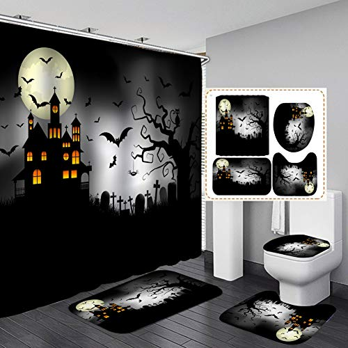 Forart 4 Stück Halloween Duschvorhang Set Halloween Kürbis Duschvorhang Dekor Horror Nacht Friedhof Hintergr& Badezimmer Dekor Badzubehör Set