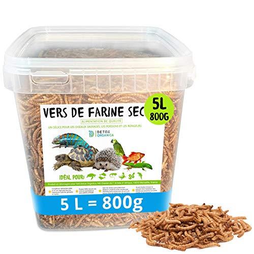 Vers de Farine Séchés-800g=5000ml-Nourriture pour Poissons, Oiseaux Tortues, Hérissons, Rongeurs et Reptiles