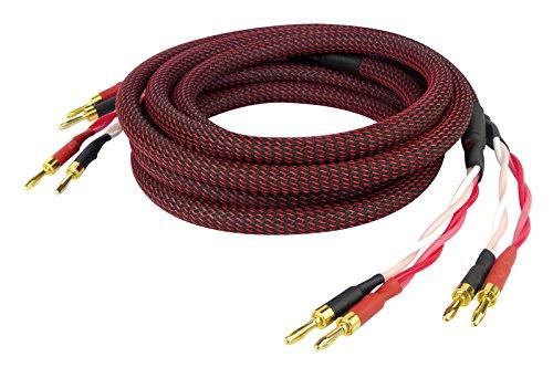 Dynavox Perfect Sound Lautsprecherkabel, Paar, Flexibles High-End Lautspecher-Kabel mit hochwertigen Bananensteckern, konfektioniert, Farbe schwarz/rot, Länge 2 m