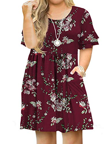 Tralilbee Women Plus Size Casual Short Sleeve Floral Swing T-Shirt Dress 03 4XL