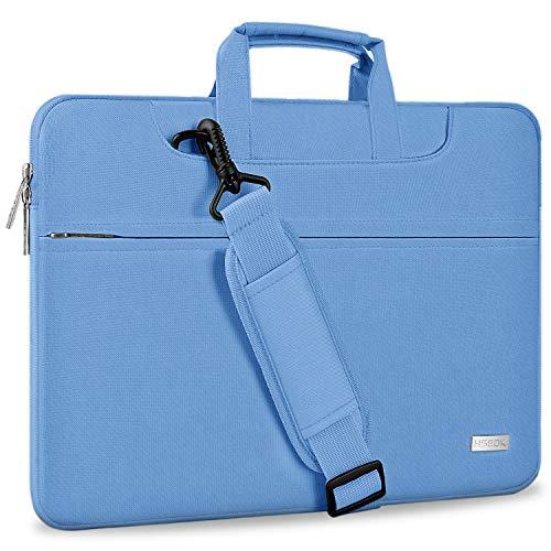 HSEOK Bolso Bandolera/Maletín para Portátil 13'-14', Funda Protectora Laptop Sleeve Impermeable para 13,3 MacBook Pro Air, XPS 13, 13'-14' HP ASUS Acer Lenovo DELL Notebook, Azul Claro