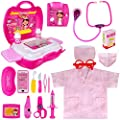 Meland Toy Doctor Kit for Kids - Pretend Play Doctor Set with Carrying Case, Electronic Stethoscope & Dress Up Costume - Doctor Play Set for Girls Toddlers Ages 3 4 5 6 Year Old for Role Play Gift by Meland