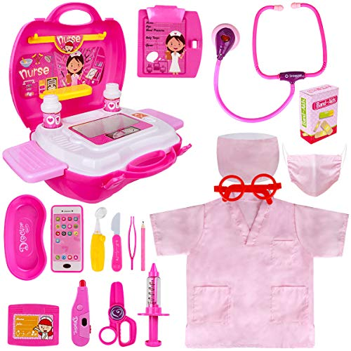 Toy Doctor Kit for Kids - Pretend Play Doctor Set with Carrying Case, Electronic Stethoscope & Nurse Dress Up Costume -...